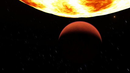 Exoplanet 3D illustration orange planet fiery hot against the bright sun (Elements of this image furnished by NASA)