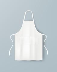 Fototapeta White blank kitchen cotton apron isolated. Protective apron uniform for cooking. Vector illustration