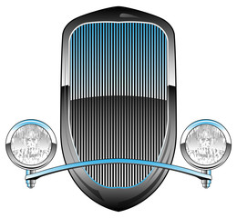 1930s Style Hot Rod Car Grill with Headlights and Chrome Trim Vector Illustration