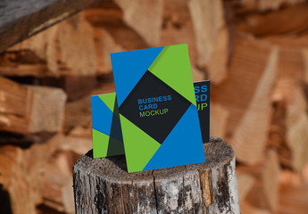 Business Cards Outdoor Stacked on Wood Mockup