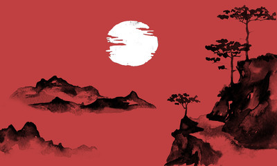 Japan traditional sumi-e painting. Indian ink illustration. Japanese picture. Sun and mountains