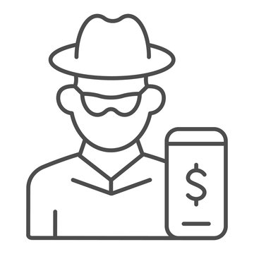 Hacker on smartphone thin line icon. Mobile phone with thief vector illustration isolated on white. Online robber outline style design, designed for web and app. Eps 10.