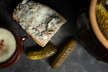 Fototapeta chleb ze smalcem obraz