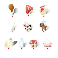 Dairy Farms Icons Illustration
