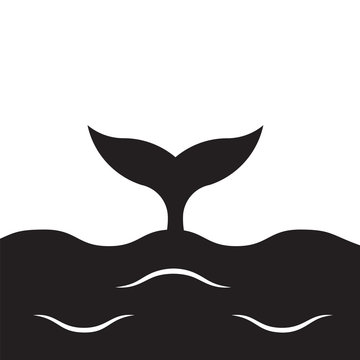 vector black whale tail in the sea waves