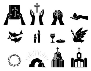 Religious Christian symbols and signs. Set of icons