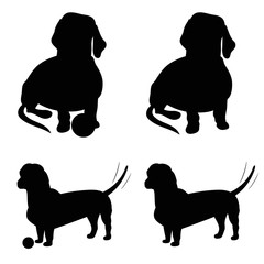 Black Dog silhouette. Dachshund.  Transparent background. Vector illustration. White isolated.