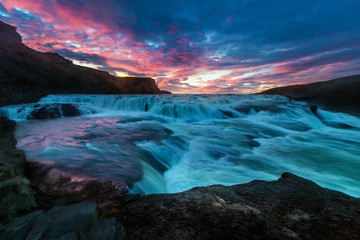 Famous Iceland Waterfall as dusk Wall mural