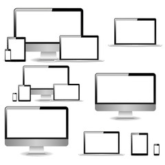 Vector illustration electronic gadgets isolated on white background. Set of realistic computer monitors, laptops, tablets and phones