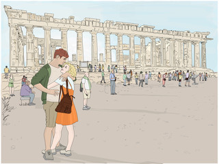 Hand drawn illustration. A beautiful couple embraces while enjoying a romantic vacation in Athens, Greece, at the ancient Acropolis, with the iconic Parthenon in the background.