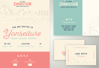 Pastel Stationery Set with Mountain Illustrations