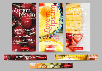 Web Banner Layouts with Food Imagery