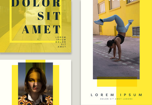 Social Media Post Layouts with Yellow Accents
