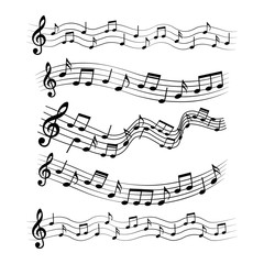 Musical design elements, music notes, vector illustration.