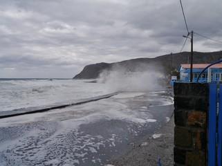 Sturm an der Küste von Milatos Beach auf Kreta