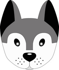 Husky dog. Cute face of a gray dog with big ears. Dog head illustration for children. Pretty puppy.