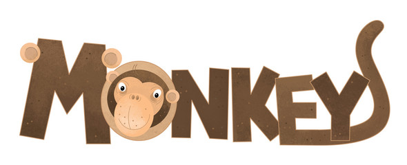 cartoon scene with monkey sign name of animal on white background - illustration for children
