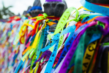Fotobehang Paradijsvogel The railings of the Church of Senhor do Bonfim in Salvador, Brazil, adorned with wish ribbons left during the Festa do Bonfim celebrations.