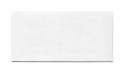 Simple blank white envelope isolated, front view. The narrow long size.