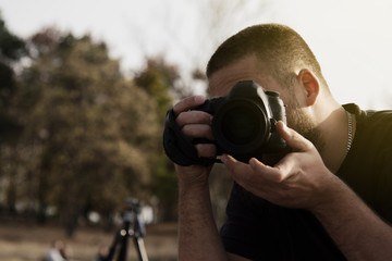 Photographer with Canon camera