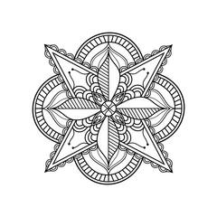 Mandala art outline on white background