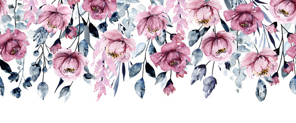 Fototapeta Repeating banner with watercolor pink flowers, botanical hand painting, isolated on white background.  obraz