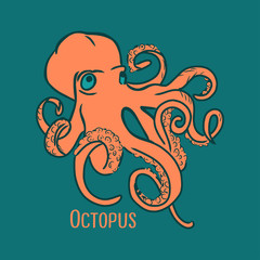 Cartoon style vector illustration orange octopus. Great design element for sticker, patch or poster. Unique and fun drawing with lettering isolated on dark blue background