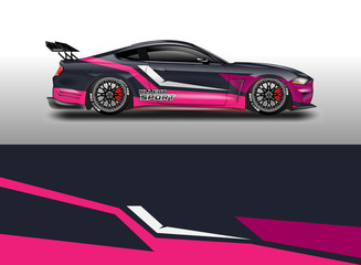 Decal car and car wrap vector, truck, bus, racing, service car, auto designs . Racing, Rally, Abstract background livery .