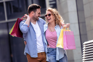 Love couple in shopping