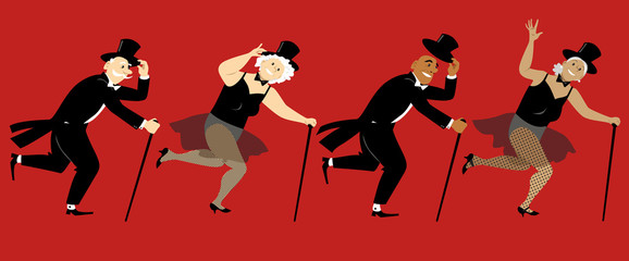 Senior people dressed in stage costumes, in top hats and with canes tap dancing, EPS 8 vector illustration