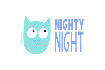 Cute vector owl with phrase nighty night - illustration cut out from actual paper. Scrapbook element. Art poster for nursery or kids room poster
