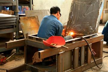 Welders work in the workshop