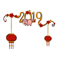 Sketch of a chinese new year banner. Vector illustration design