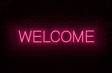 Welcome, red neon inscription. Vector Illustration