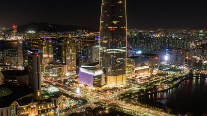 Night view of Seoul, Seoul skyline, South Korea.