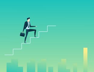 businessman climb up stairs