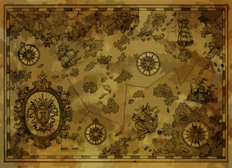 Vector pirate map with treasure islands, compass, old ships on antique background. Pirate adventures, treasure hunt and old transportation concept. Vector illustration, vintage background