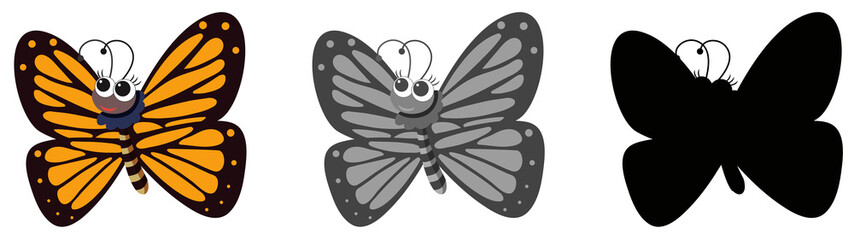 Set of butterfly cartoon