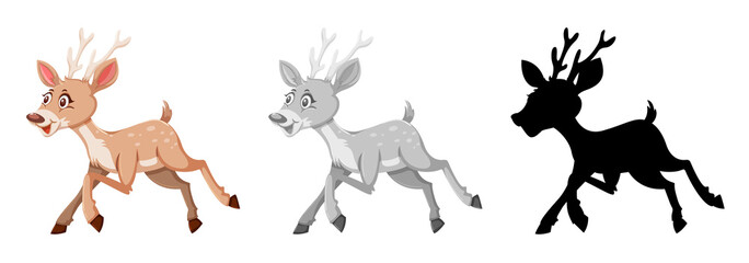 Set of deer character