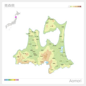 青森県の地図(等高線・色分け・市町村・区分け)