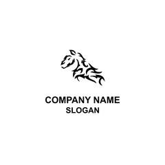 Tribal horse head logo.