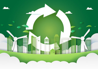 Paper art of green city and recycle energy concept background template.Ecology and environment conservation creative idea concept.Vector illustration.