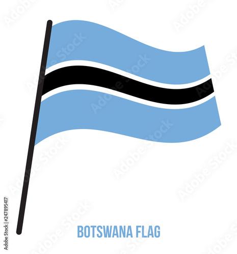 Botswana Flag Waving Vector Illustration on White Background