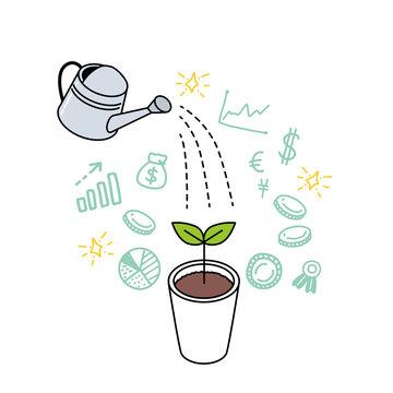 ジョウロ 水やり 成長 ビジネスコンセプト 資産運用