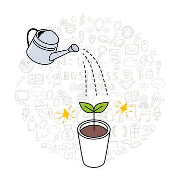 水をやるイラスト ジョウロ 水やり 成長 ビジネスコンセプト