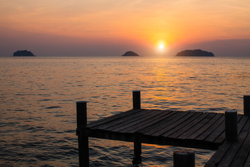 Wooden pier.Sunset on the Gulf of Thailand.