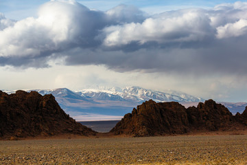 Landscape of the mountains in Western Mongolia.