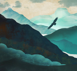 An eagle soars above a blue green valley in the mountains in this fantasy illustration.