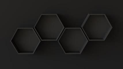 Empty black hexagons shelves on blank wall background. 3D rendering.