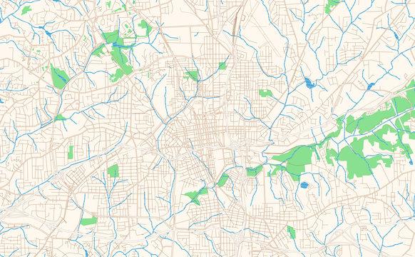 Winston–Salem North Carolina printable map excerpt